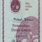 Certificate of completion for Geoff lawton permaculture Design Course